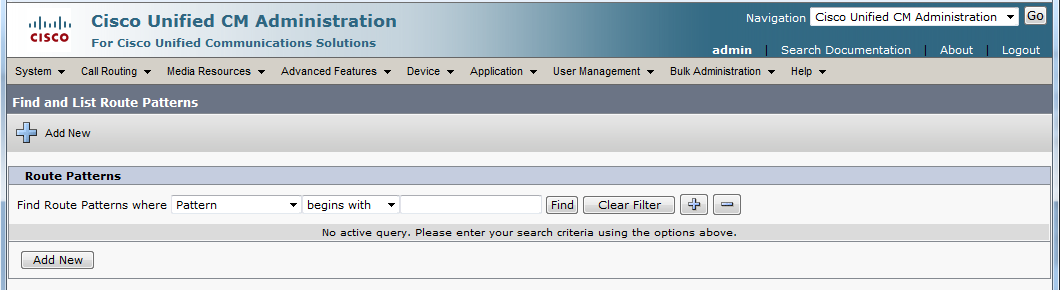 9. On the Find and List Route Patterns screen, click on Add New. Cisco Unified Communications Manager 10.