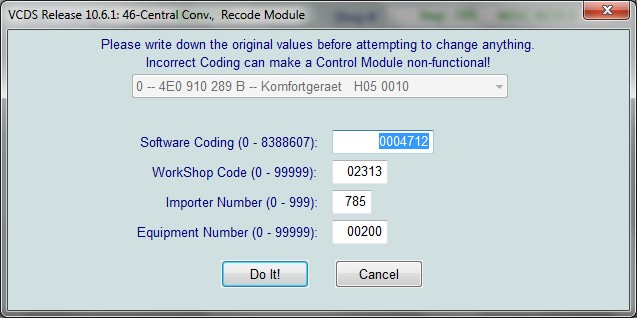 17. Now you just need to code it so hook up the computer, start VCDS and enter 46 comfort module, click the coding and add 32.