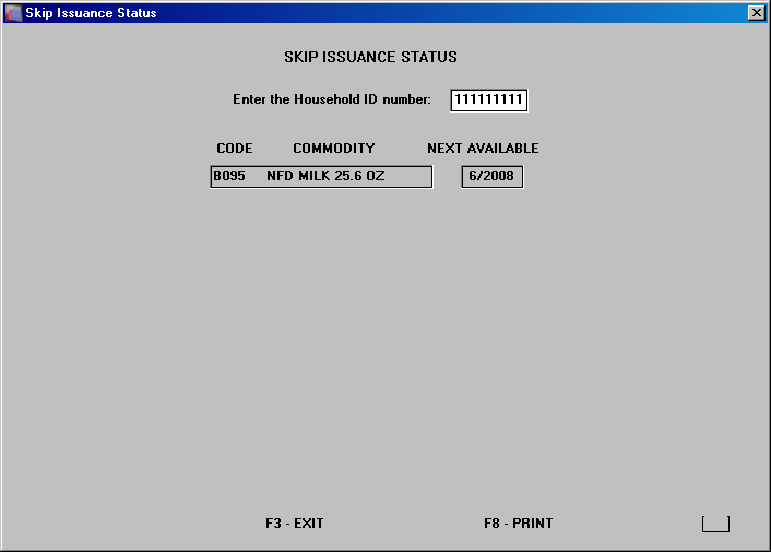 Skip Issuance Status Report The skip issuance status report displays on