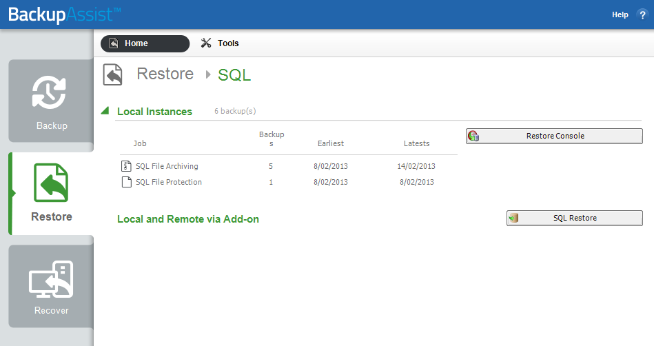 6. Restoring an backup BackupAssist provides an inbuilt SQL restore tool that can be used to restore SQL databases to both local and remote SQL servers.