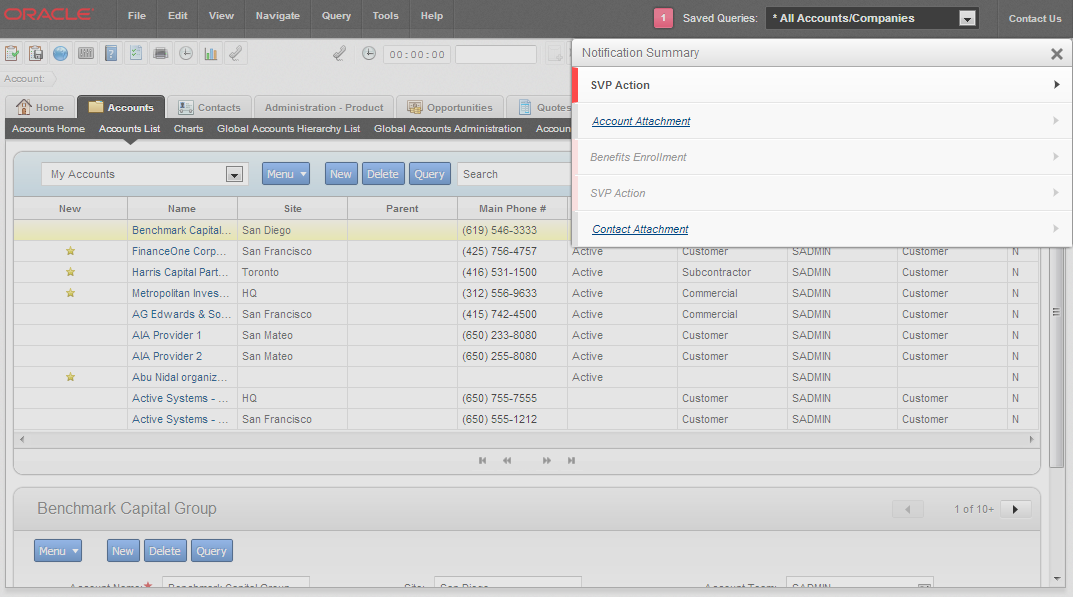 Figure 3. A list of Reports notifications in Open UI.