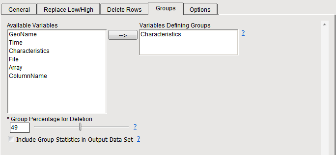 12. Select the Groups tab. Highlight and click to add it to the Variables Defining Groups field.