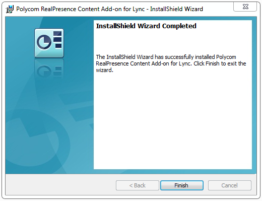 8 An Installing window displays (as shown next), together with a message on your task bar that indicates the Content Add-on for Lync is loading. Wait while the installation completes.