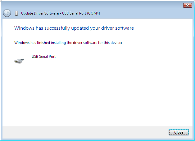 6.7. Windows will load the driver and report success.