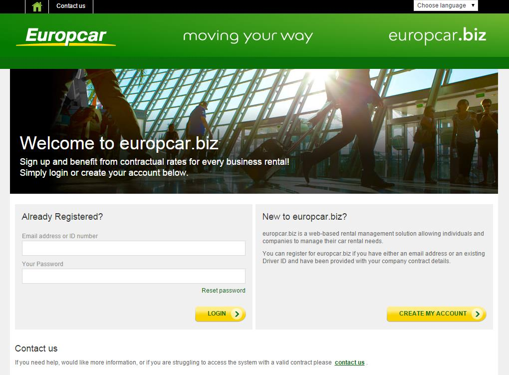 Europcar.biz Main Log-in Page Landing Page Individuals registering for the first time will need to enter their email, contract ID & then press continue.