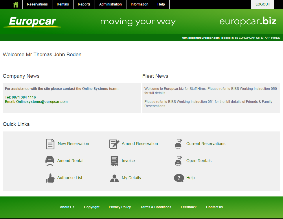 Europcar.biz Home Page You can return to this page at any time by selecting Use the function panel located along the top of the page to navigate your way through all the functions of the site.