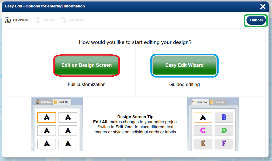 ii) iii) The Easy Edit Wizard is guided editing tool which will allow you to edit any pictures or text on your design.