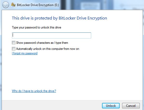 1. You will be prompted to enter the password you created when you encrypted the drive in order to unlock it.