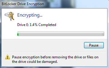 5. When you have finished, click Next. 6. On the Are You Ready To Encrypt This Drive page, click Start Encrypting. Do not remove the USB flash drive until the encryption process is complete.