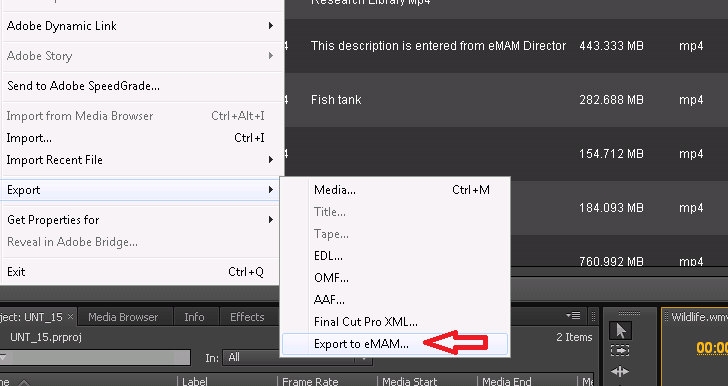 Export to emam option in Adobe Premiere Pro File Menu The rendered sequence can be viewed in emam from any standard web browser or mobile device.