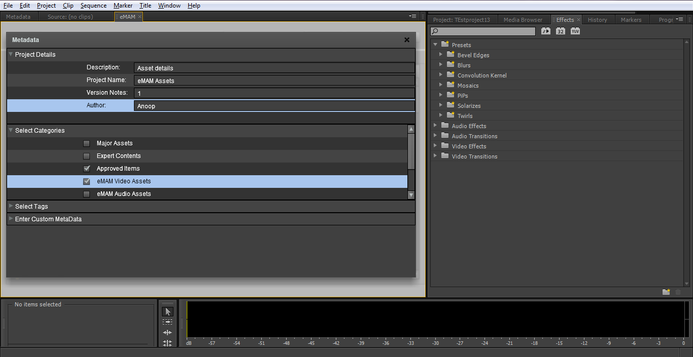 Export An editor can also export current Premiere Pro projects into emam.