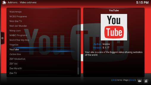 Installing YouTube Add-on Note: While the initial installation procedure is the same as Section 6.1 above, getting YouTube to work on Kodi requires a bit of configuration.