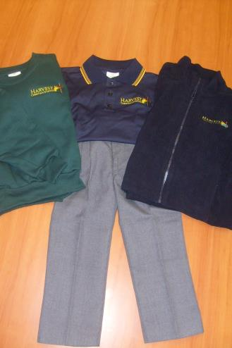 FOUNDATION TO YEAR 6 BOYS: HCS navy primary polo (long or short sleeved) HCS grey shorts HCS grey socks (not compulsory with sandals) HCS green hat HCS windcheater/hcs polar fleece jacket Brown
