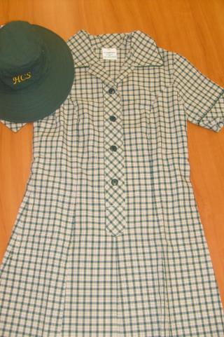 MIDDLE SCHOOL (Yr 7 - Yr 9) GIRLS: HCS Secondary dress (dress length to be on kneecap) HCS green hat HCS white socks (optional with sandals) HCS middle school jumper/hcs polar fleece jacket Brown