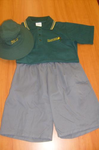MIDDLE SCHOOL (YR 7 YR 9) BOYS: HCS green polo HCS grey shorts or HCS grey trousers HCS green hat Brown school sandals or black school shoes HCS grey socks (optional with sandals) HCS middle School