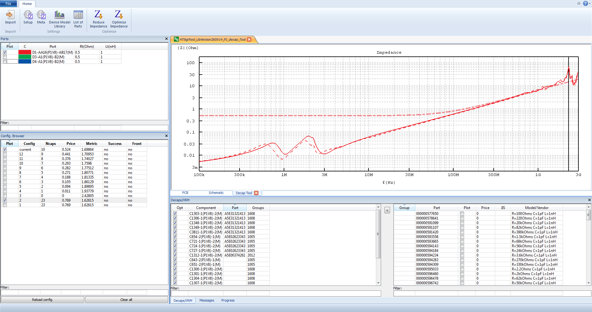 Decap Analysis Tool - Results Locate the marker to impedance curve manually and optimizing