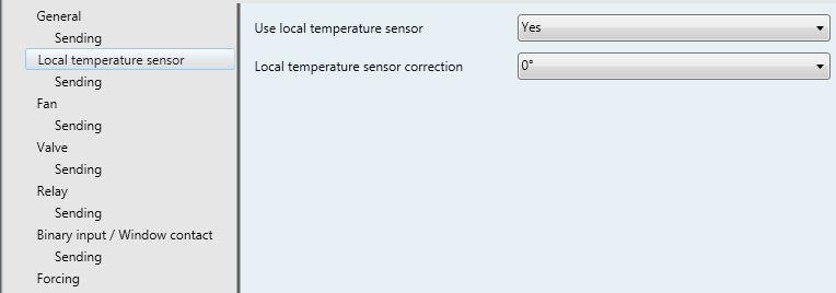 3.2.2 Local temperature sensor parameters Figure 7: Local temperature sensor parameters A local temperature sensor may be connected to the device.