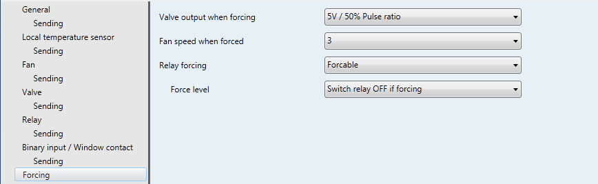 3.2.7 Forcing mode parameters Figure 18: Forcing mode parameters CO Nr. 1/, Forcing mode, can be used to put the device in a predefined state. Forcing mode will act on valve output and fan speed.