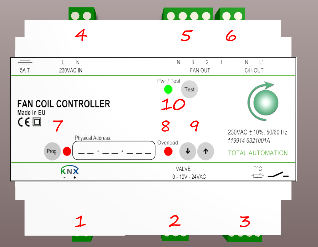 1.2. Overall view Terminals: Buttons: LED s: 1. KNX terminals 7. KNX programming button 7. KNX programming LED 2. Valve terminals 9. Increment and decrement buttons 8. Overload LED 3.