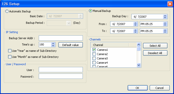 1 2 3 Backup server configuration window 4 5 Automatic Backup: Tick Automatic Backup to specify automatic backup. - Specify basic date and backup period.