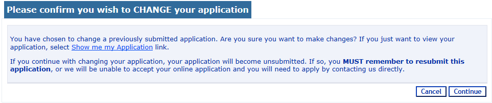 4.13. The next screen will confirm the submission of your application and you will also receive and email confirming that the application has been submitted: If you wish you can print a copy of your