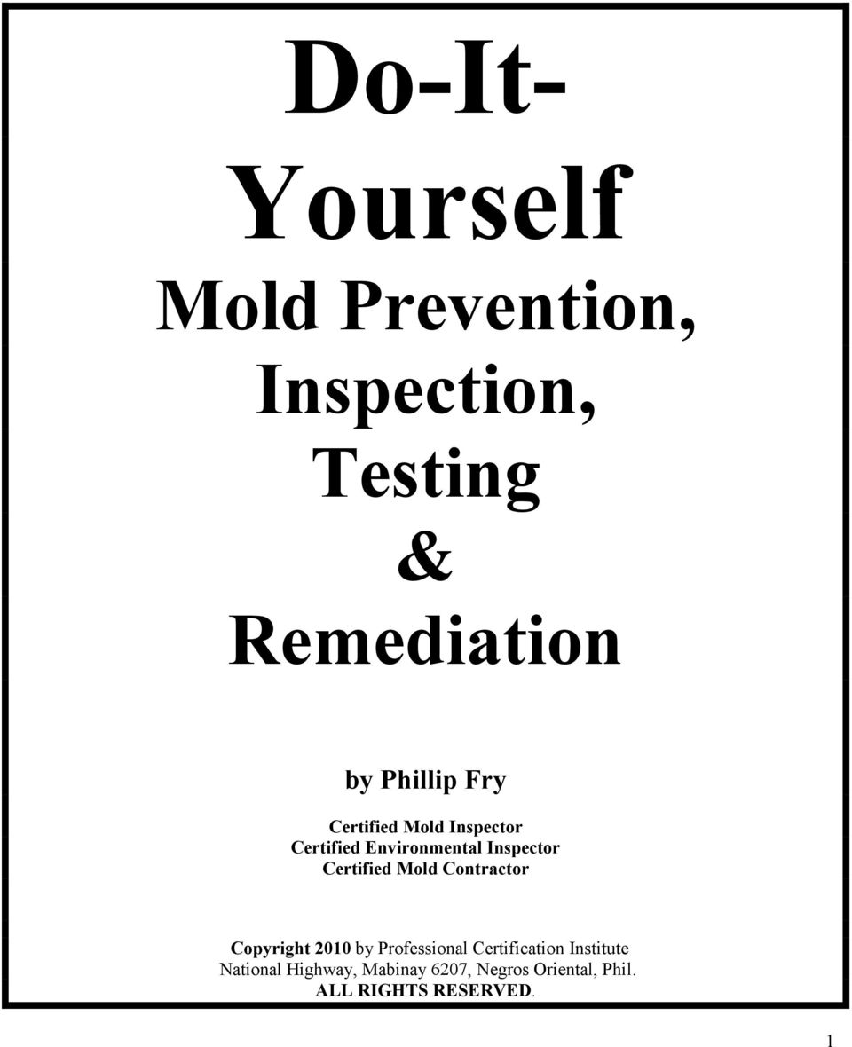 Certified Mold Contractor Copyright 2010 by Professional Certification