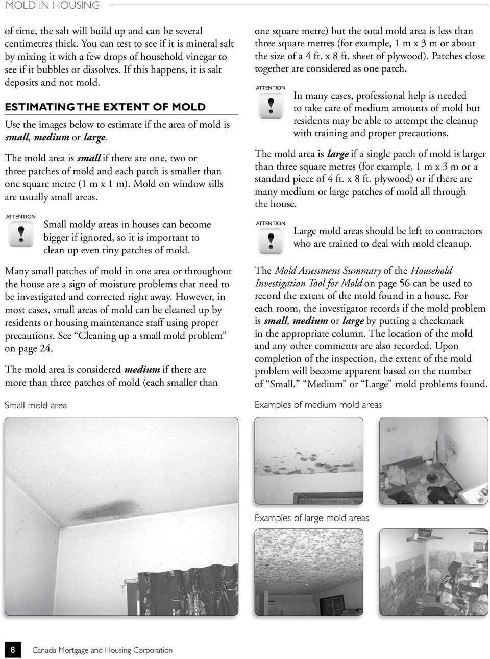 ESTIMATING THE EXTENT OF MOLD Use the images below to estimate if the area of mold is small, medium or large.