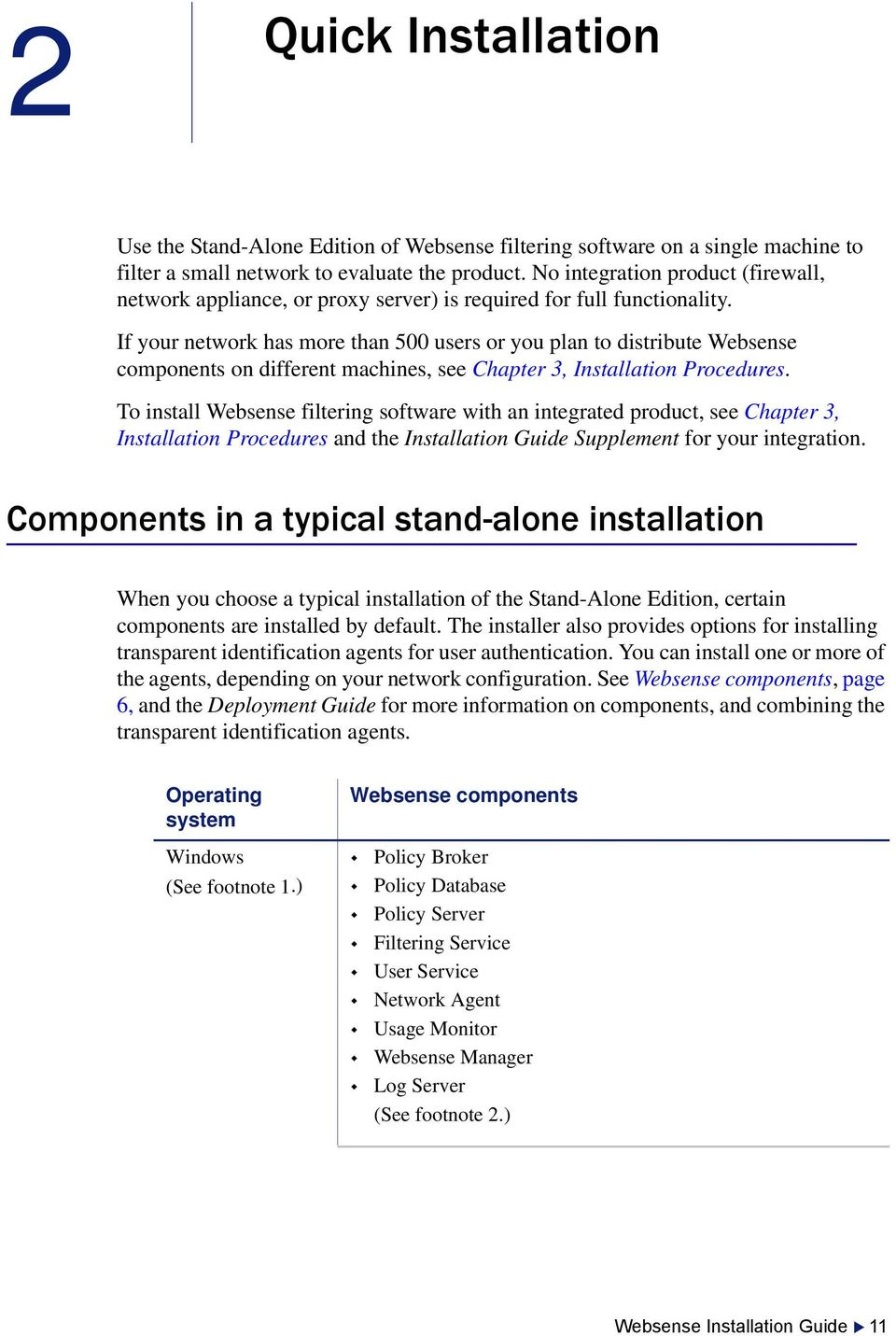 If your network has more than 500 users or you plan to distribute Websense components on different machines, see Chapter 3, Installation Procedures.
