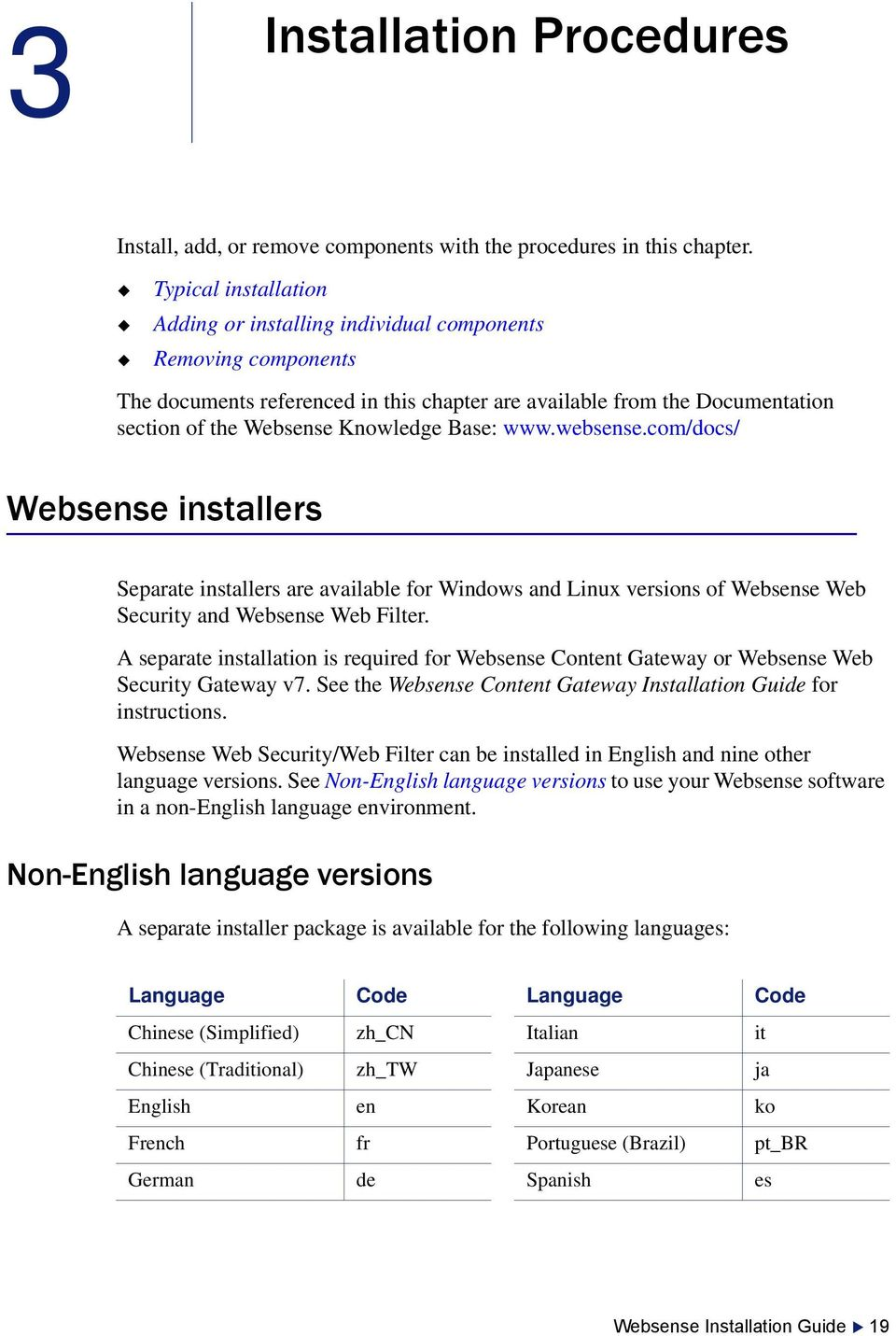 Base: www.websense.com/docs/ Websense installers Separate installers are available for Windows and Linux versions of Websense Web Security and Websense Web Filter.