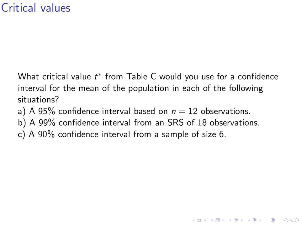 a) A 95% confidence interval based on n = 12 observations.