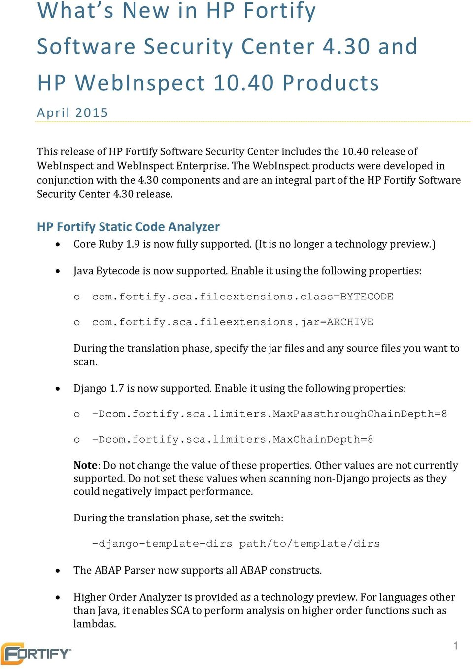 30 Components And Are An Integral Part Of The HP Fortify Software Security  Center 4.30 Release