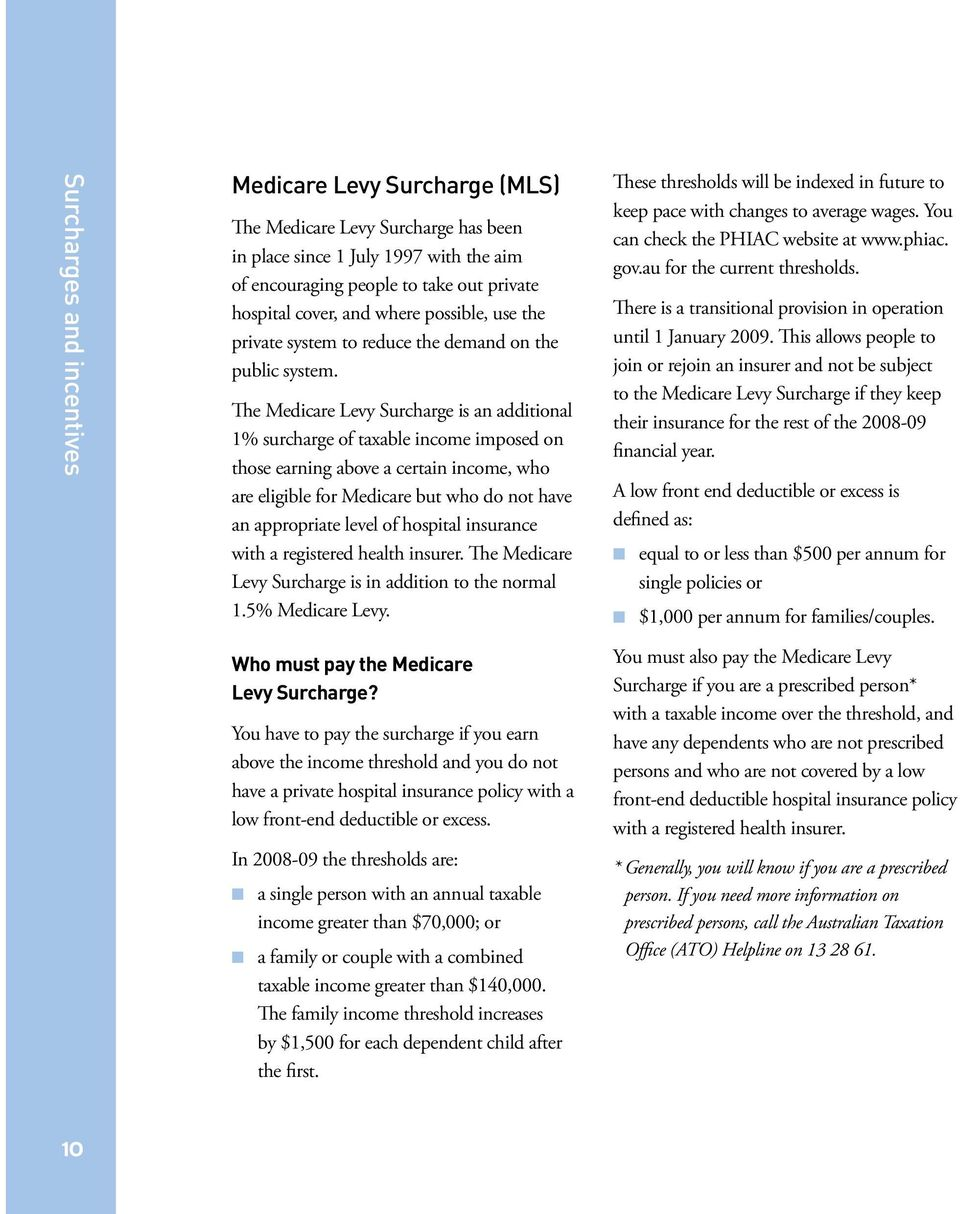 The Medicare Levy Surcharge is an additional 1% surcharge of taxable income imposed on those earning above a certain income, who are eligible for Medicare but who do not have an appropriate level of