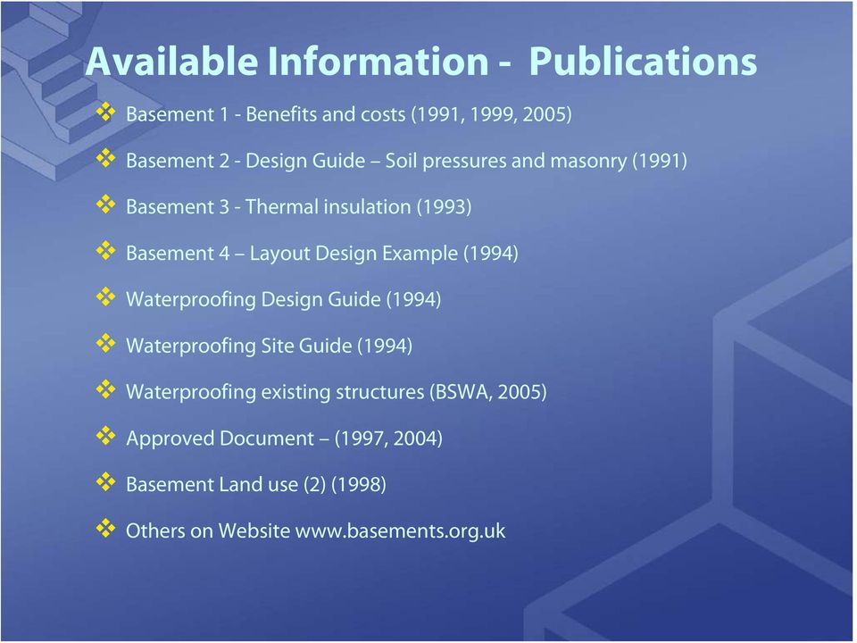Example (1994) Waterproofing Design Guide (1994) Waterproofing Site Guide (1994) Waterproofing existing