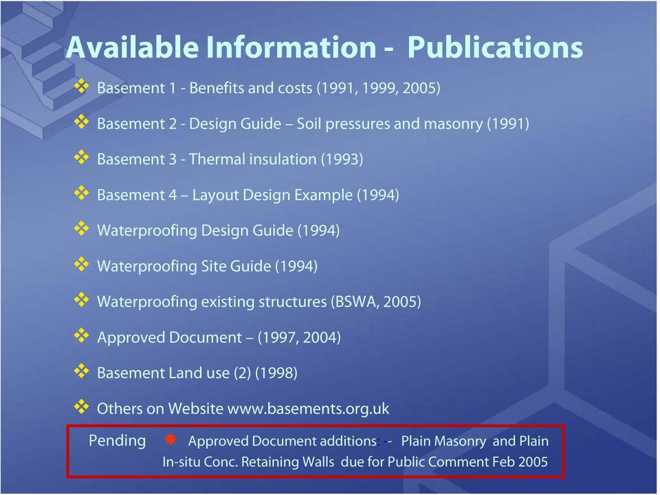 Guide (1994) Waterproofing existing structures (BSWA, 2005) Approved Document (1997, 2004) Basement Land use (2) (1998) Others on Website