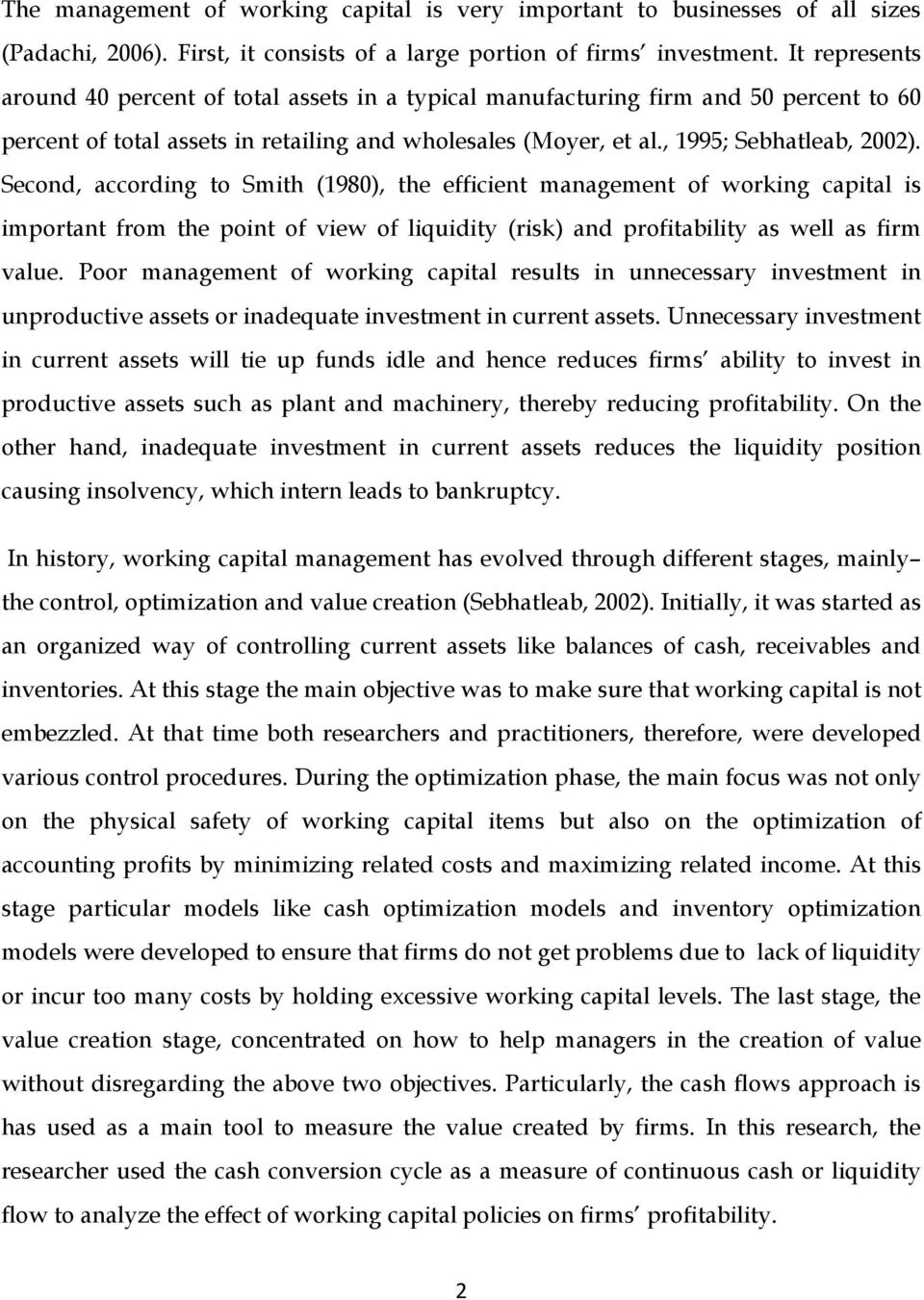 Doctoral thesis on working capital management