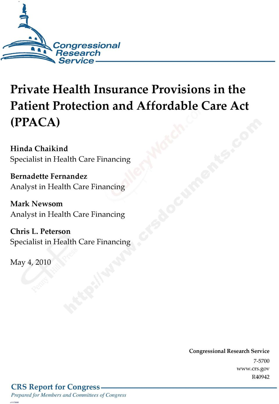 in Health Care Financing Chris L.