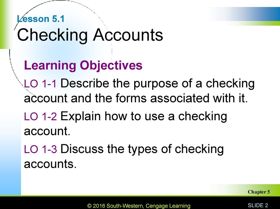 the purpose of a checking account and the forms associated