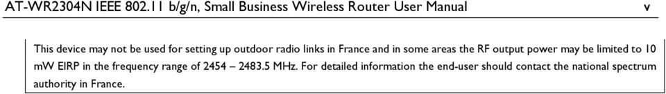 setting up outdoor radio links in France and in some areas the RF output power may be