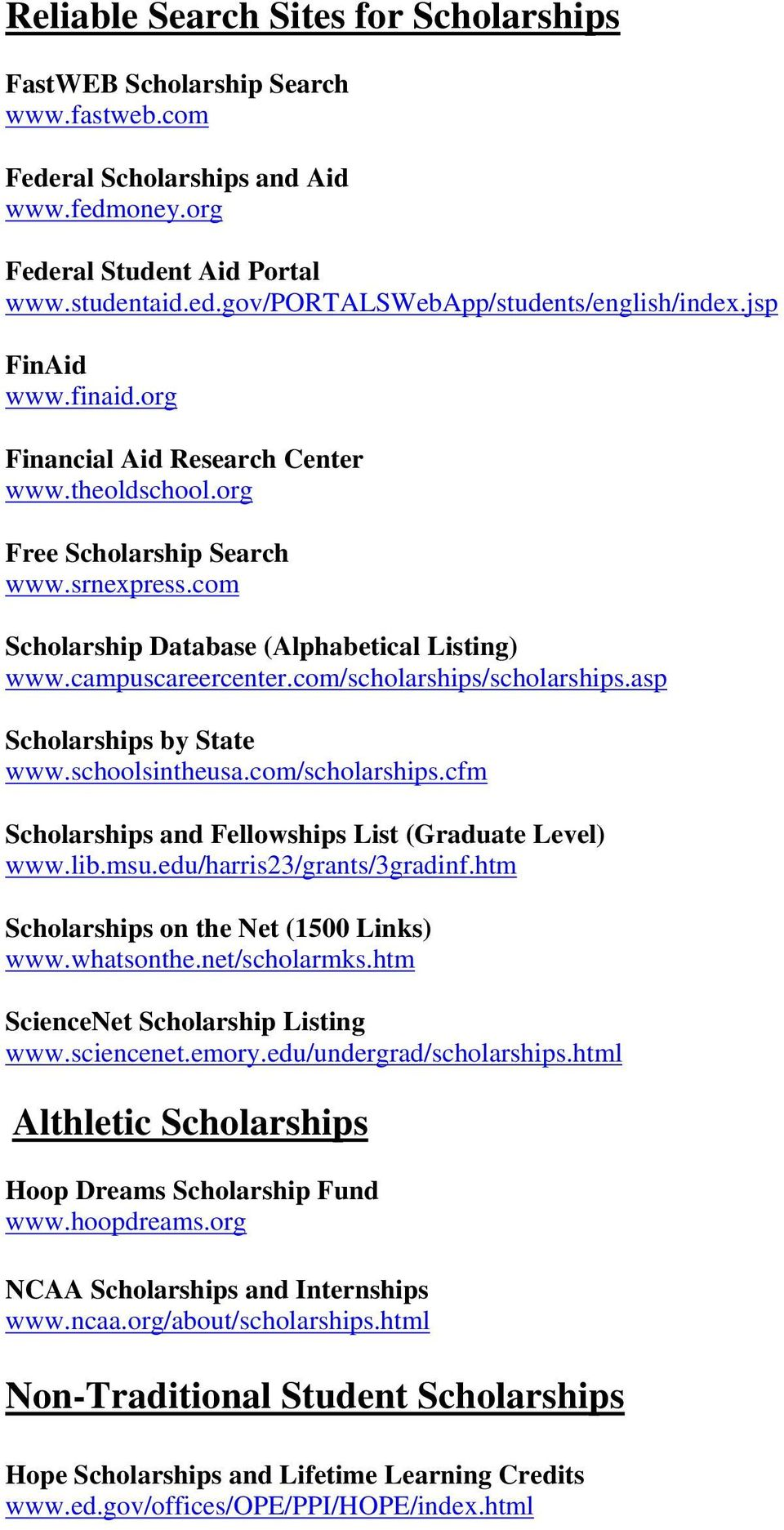 Scholarship Opportunities - PDF