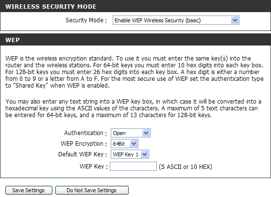 Section 3 - Configuration 1. To enable WEP, next to Security Mode, select Enable WEP Wireless Security (basic). 2.