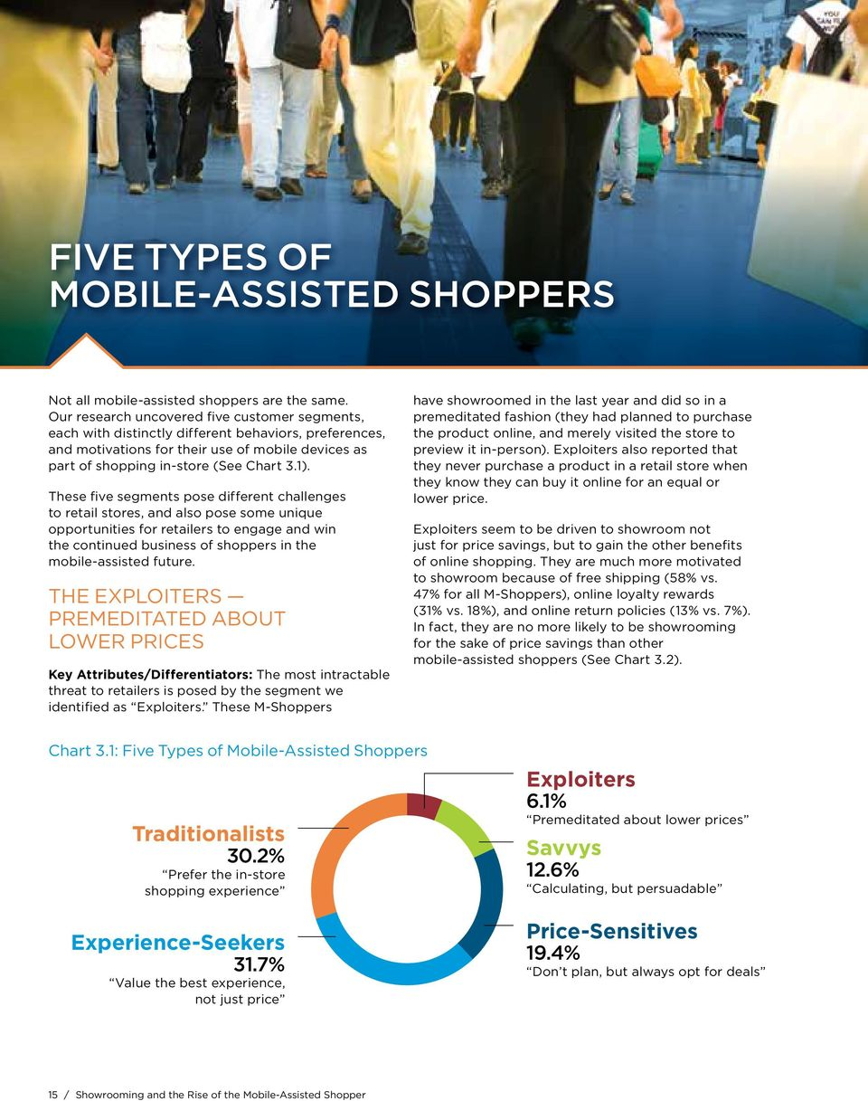 These five segments pose different challenges to retail stores, and also pose some unique opportunities for retailers to engage and win the continued business of shoppers in the mobile-assisted