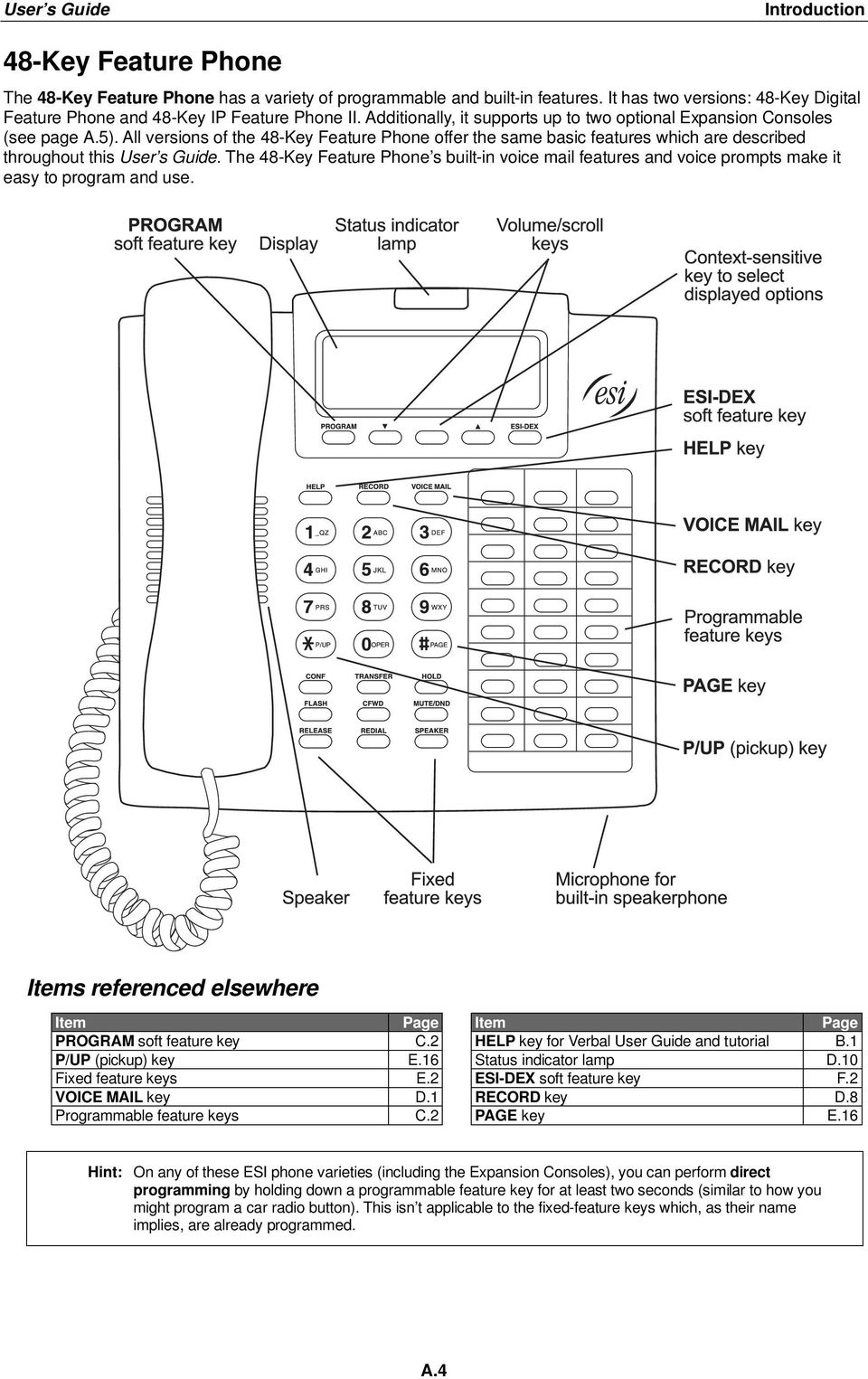 The 48-Key Feature Phone s built-in voice mail features and voice prompts make it easy to program and use. Items referenced elsewhere Item Page Item Page PROGRAM soft feature key C.