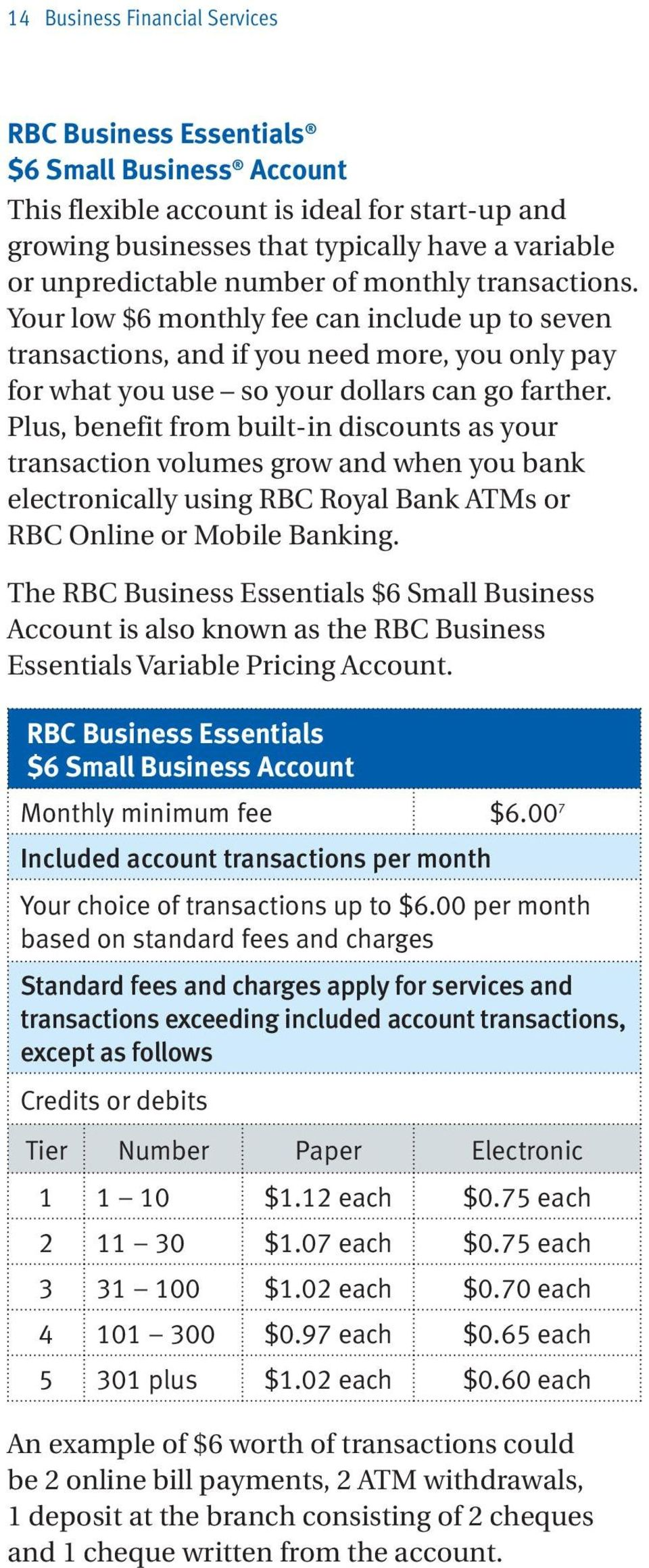 Plus, benefit from built-in discounts as your transaction volumes grow and when you bank electronically using RBC Royal Bank ATMs or RBC Online or Mobile Banking.