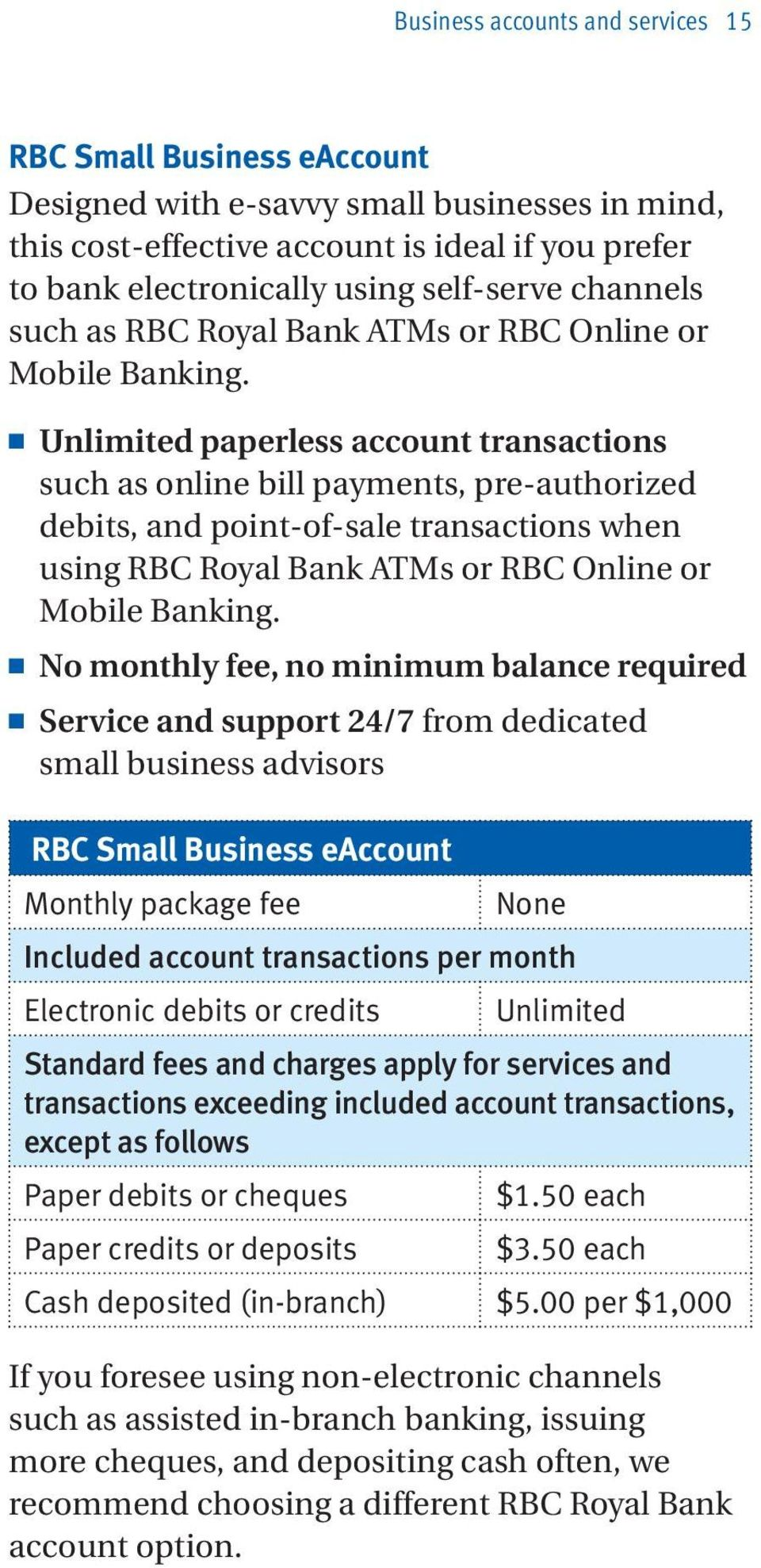 n Unlimited paperless account transactions such as online bill payments, pre-authorized debits, and point-of-sale transactions when using RBC Royal Bank ATMs or RBC Online or Mobile Banking.