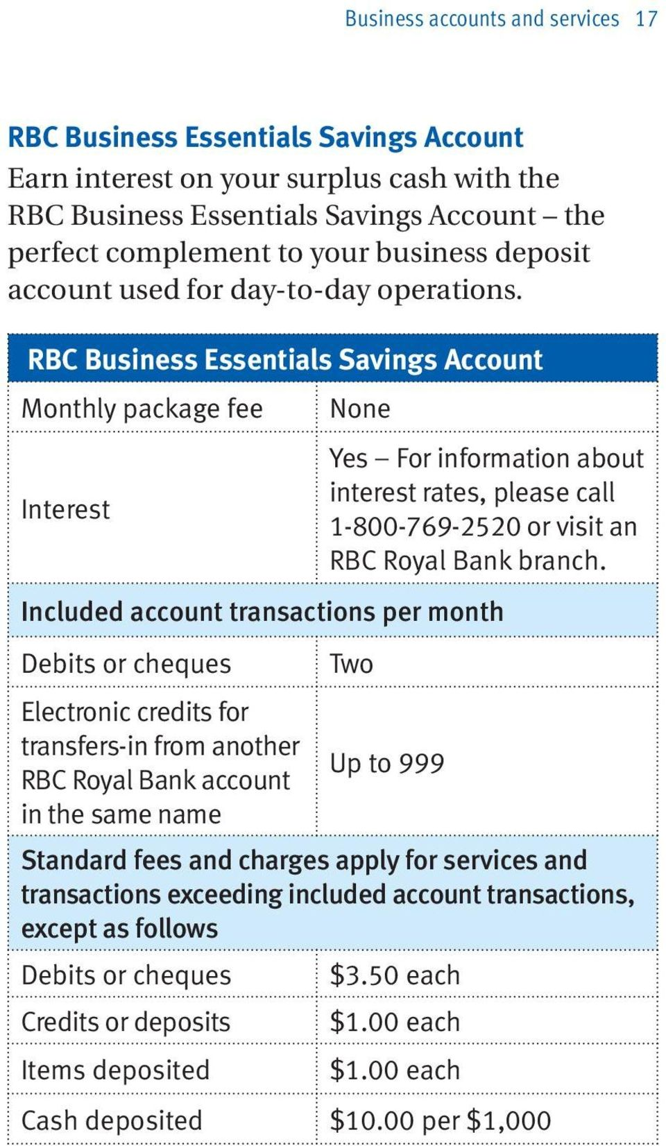 RBC Business Essentials Savings Account Monthly package fee None Interest Yes For information about interest rates, please call 1-800-769-2520 or visit an RBC Royal Bank branch.