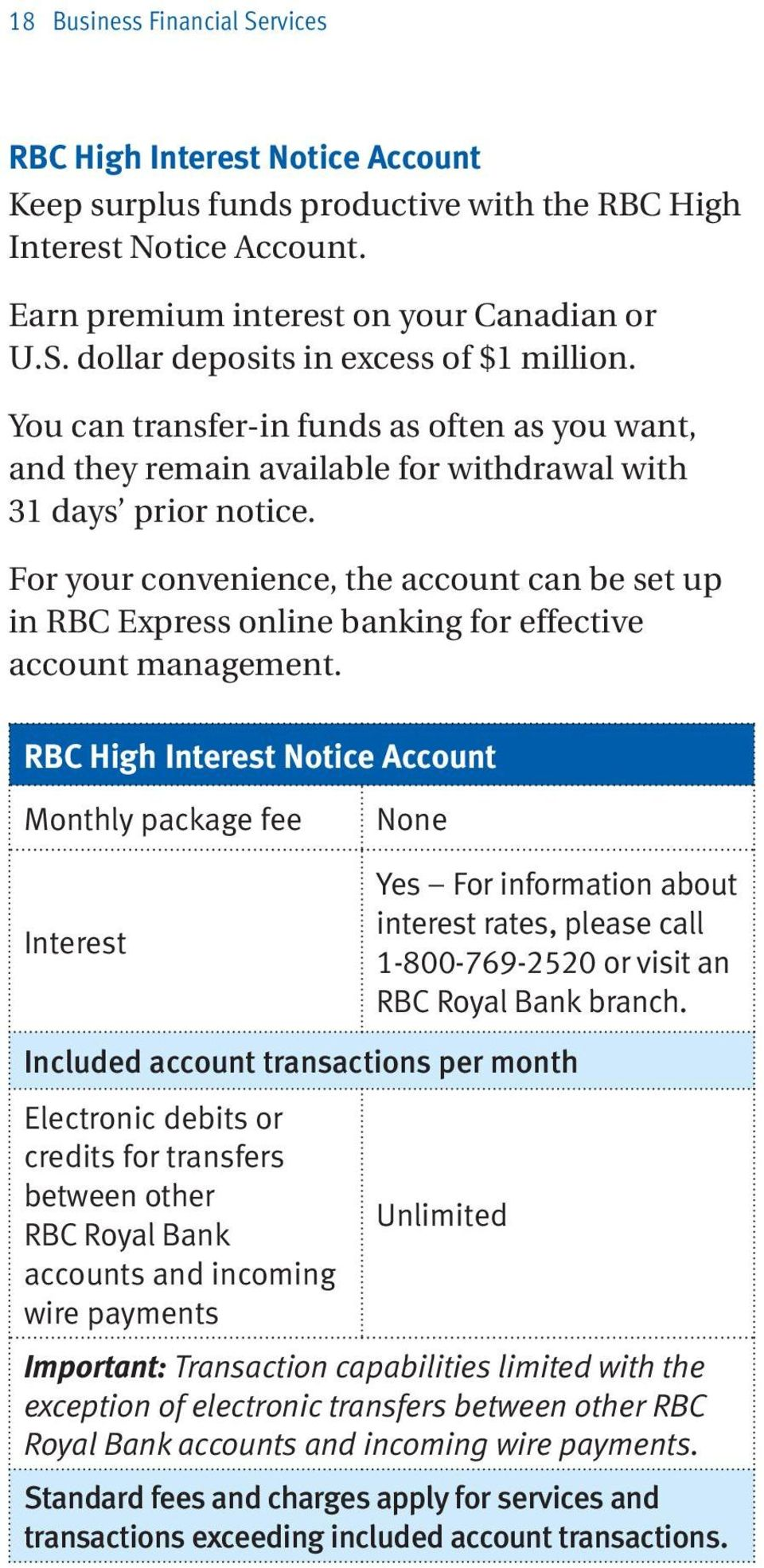 For your convenience, the account can be set up in RBC Express online banking for effective account management.