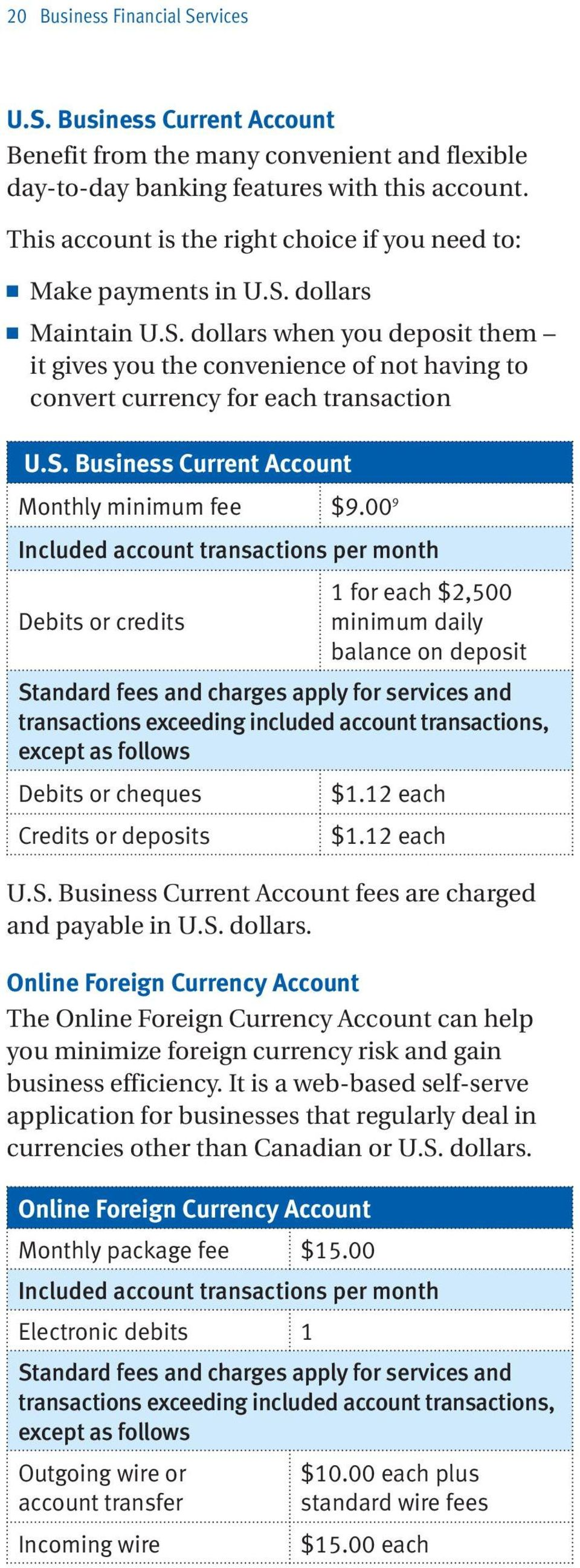 S. Business Current Account Monthly minimum fee $9.