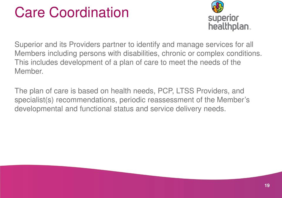 This includes development of a plan of care to meet the needs of the Member.