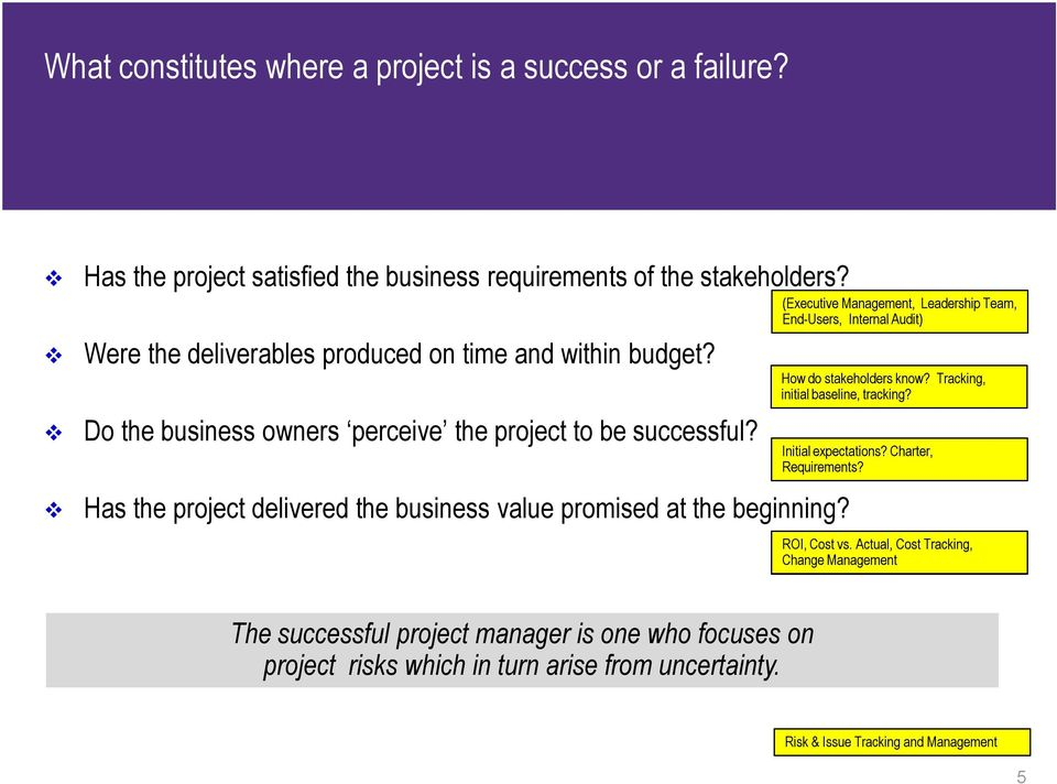 Has the project delivered the business value promised at the beginning? (Executive Management, Leadership Team, End-Users, Internal Audit) How do stakeholders know?