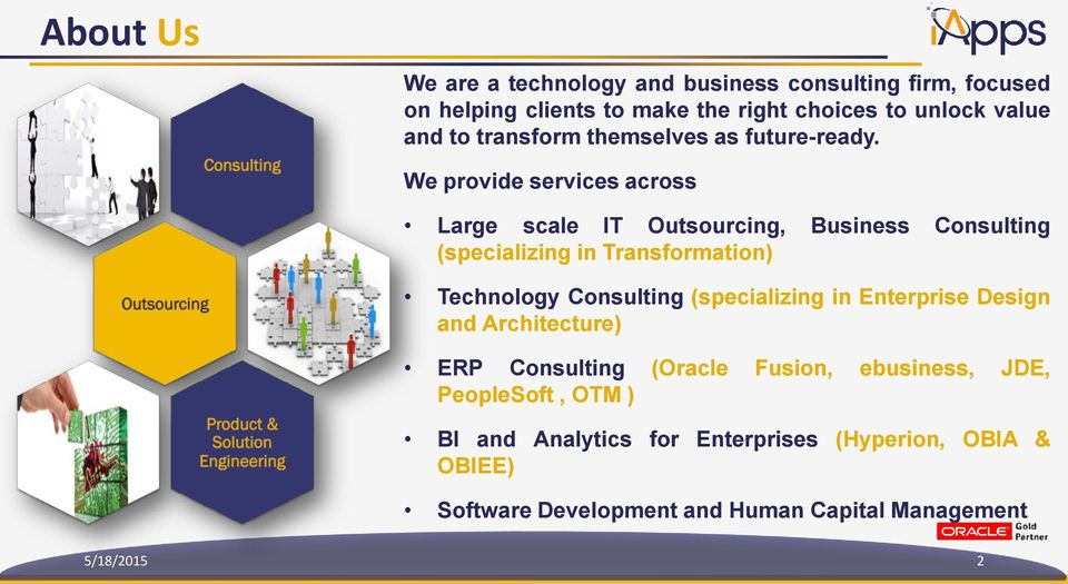 We provide services across Large scale IT Outsourcing, Business Consulting (specializing in Transformation) Technology Consulting